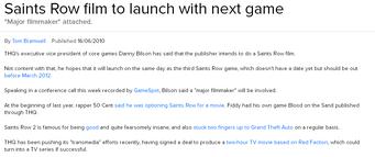 Saints Row movie Eurogamer article