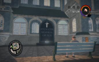 Saints Row Church - Stilwater Memorial Church sign in Saints Row 2