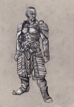 Johnny Gat Concept Art - Gat out of Hell Barbarian look - bald with chest strap