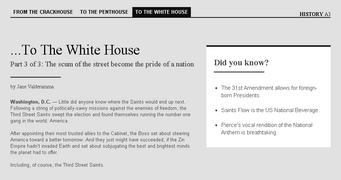 Saints Row website - History - To the Whitehouse