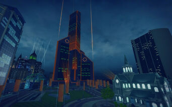 Mission Beach in Saints Row 2 - Phillips Building at night