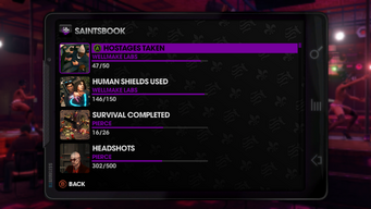 Challenge menu in Saints Row The Third