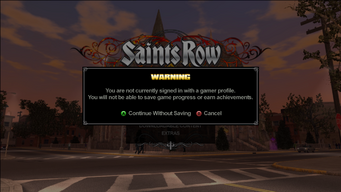 Saints Row Menu - not signed in