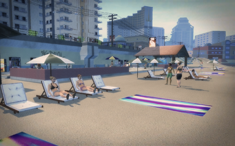 Centennial Beach - deck chairs and civilians