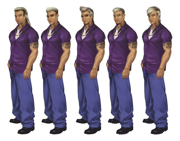 File:Johnny Gat Concept Art - Saints Row 2 - five different faces with similar outfits.jpg