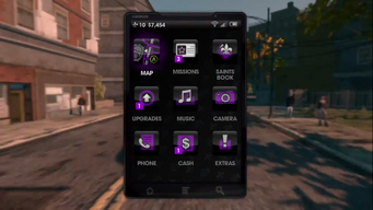 Cellphone menu in Saints Row The Third