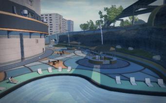 Poseidon's Palace exterior - rear pool area