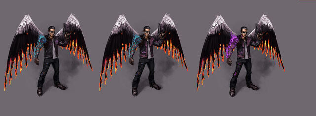 File:Johnny Gat Concept Art - Gat out of Hell - three versions with wings.jpg