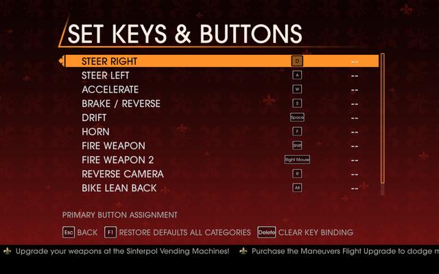 File:Saints Row Gat out of Hell - Main Menu - Options - Controls - Set Keys & Buttons - Car & Bike.png