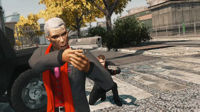 Loren in city with pistol in Syndication trailer