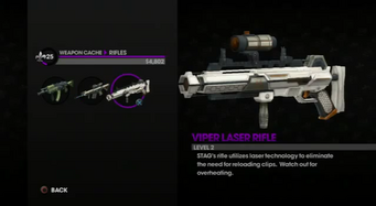 Viper Laser Rifle in the Weapon Cache