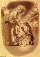 Naniwa, young girl, and kurando illustration