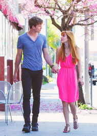 Bella-thorne-bright-pink-dress-with-boyfriend