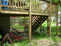Waukegan campus Gregory exterior rear porch bikes