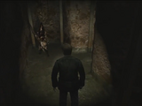 James encounters Pyramid Head in the Labyrinth
