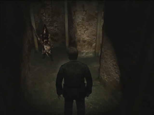 File:James encounters Pyramid Head in the Labyrinth.PNG