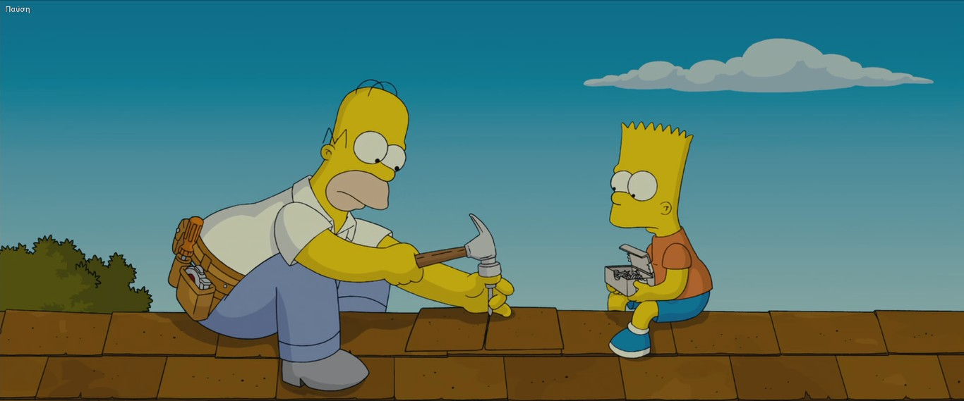 Image Homer And Bart Fixing The Roof Jpg Simpsons Wiki