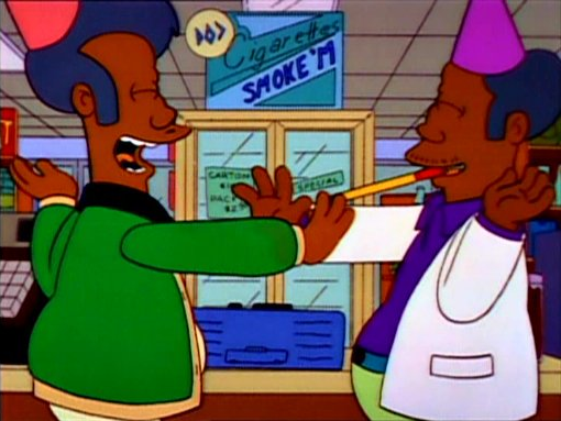 File:Apu and Sanjay celebrate at Marge's expense.png