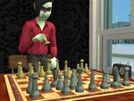 Alien playing chess