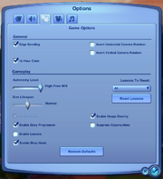 Gameoptions sims3