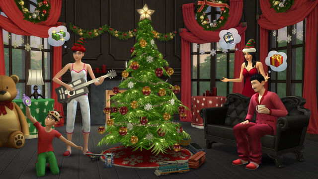 File:TS4 Holiday screenshot - around the Xmas tree.jpg
