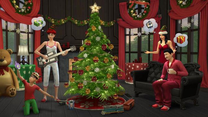 TS4 Holiday screenshot - around the Xmas tree