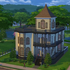 Mortimers und Bellas Haus für das <i>Die Sims 4</i>-Bauvideo.