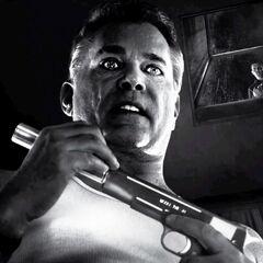 Joey holds a gun.