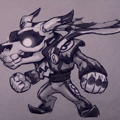 Concepto del diseño inicial de Fiesta, con cráneo animal y uniforme de carreras.