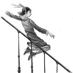 Violet slides down the stair rail in 667 Dark Avenue