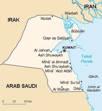 Kuwait map, 12-30-15