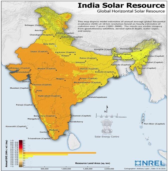 India Solar Resource map, 12-3-12