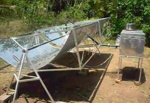 Saracon Solar Cooker side view, 2009