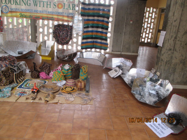 File:Solar cookers and plastic waste recycled items made by NAREWAMA on display at Tangaza college, Nairobi on the launch of Kenya Interfaith Network on Environmental Action(KINEA).JPG