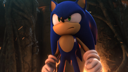 Sonic before transforming to Super Sonic (Sonic Unleashed)