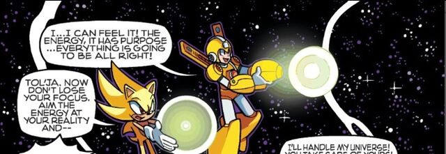 File:Super Sonic ans Super Armor Mega Man getting ready to use chaos control.jpg