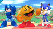 Sonic next to pacman