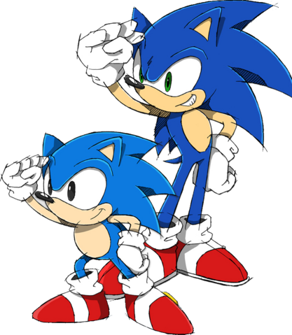 File:Sonic and Classic Sonic.png