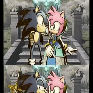 Sonic coqueteando con Nimue durante una conversación con ella.