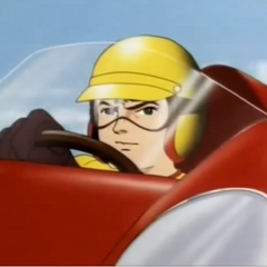 Rex Racer at the wheel