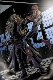 Kaine strangling Spider-Man