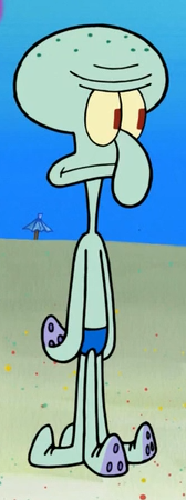 Squidward in blue swimsuit