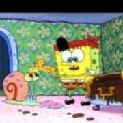 Spongebob with a duck