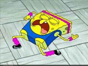 Spongebob snoring on the ground