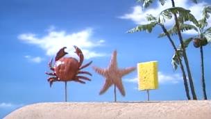 File:Mr. Krabs, Patrick and SpongeBob On Land.png