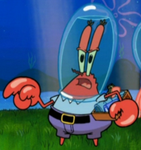 Mr. Krabs Wearing a Water Helmet