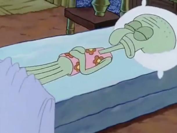 File:Squidward asleep, wearing floral PJs.PNG