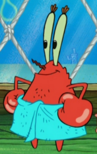 Mr. Krabs Wearing a Blue Towel