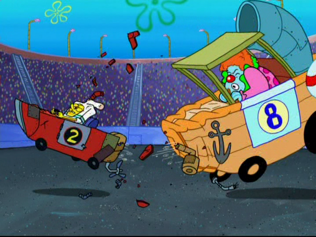 File:SpongeBob crushing into the Crackling Cruiser.png