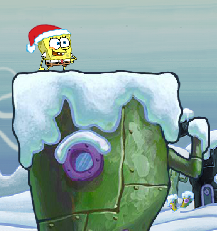 File:Spongebob Winter RUNerland Spongebob on green building.png
